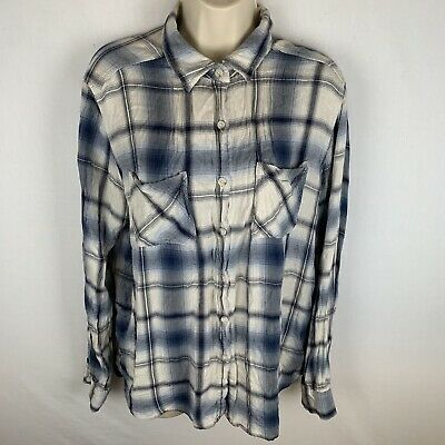 8101db2d Mossimo Womens Large Button Up Flannel Boyfriend Fit Plaid Blue White i