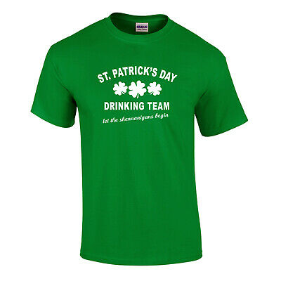 "ST PATRICK'S DAY ""DRINKING TEAM"" T SHIRT NEW Irish Drunk Beer Paddy Tops"