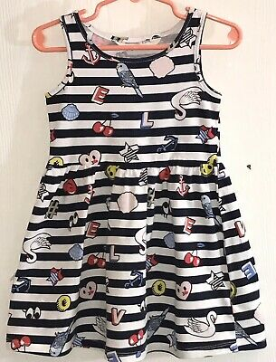 acbbfbcf825 H M Toddler Girl s 2-4Y Dress Sleeveless Blue White Striped Colorful Decor  EUC