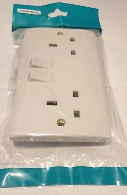 13A White Plastic Single Double Mains Wall Socket Plug Outlet Switch Switched