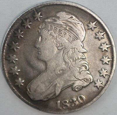 1830 Capped Bust Silver Half Dollar United States 50C Coin