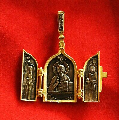 Russian Orthodox Silver 925 Icon Pendant Christ Virgin Mary St. Nicholas k-4