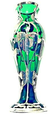 Art Nouveau Sterling Silver Overlay on Hand Blown Emerald Green Art Glass Vase