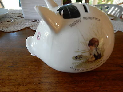 Vintage Holly Hobbie Happy Memories Brighten Quiet Hours Pig Money Box