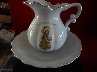 Vintage Holly Hobbie Green Girl   Big Jug and Bowl