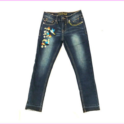 58f1ffafd89407 VIGOSS BIG GIRLS Jeans Super Denim Stretch Ankle Skinny Blue Floral ...
