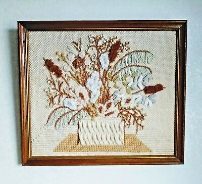 Brown Beige white pink Flowers Retro 1970s Framed Crewel Needlepoint potted
