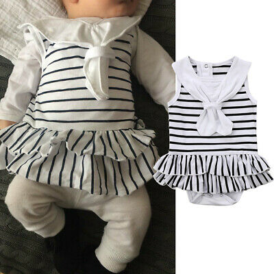Lovely Newborn Infant Baby Girl Striped Bodysuit Romper Jumpsuit Outfits Clothes