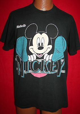 Vintage MICKEY MOUSE Nashville TN Black T-SHIRT L Music City WALT DISNEY 83ef8bcb28d9