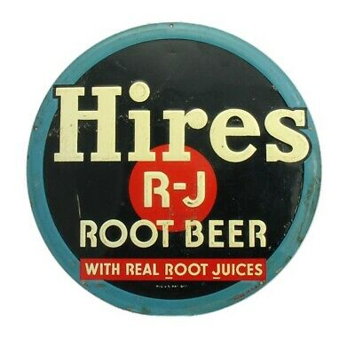 "Vintage 1940's Hires R-J Root Beer Soda Pop Gas Station 12"" Embossed Metal Sign"