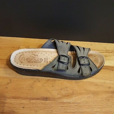 e7421bdc2f66 Fly Flot Womens 7.5 38 Leather Sandals Slides Italy Gray Brown Slip on Shoes