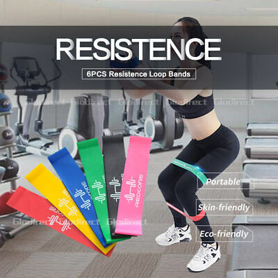 Resistance Band Set of 6 Heavy Strength Exercise Fitness Gym Crossfit Yoga AU