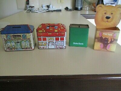 Money Box - STATE BANK - green with cardboard cover + 2 decorative money boxes