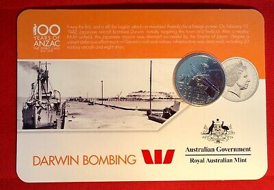 2016 Anzac To Afghanistan 20 Cent Australian Coin Carded Unc. Darwin Bombing