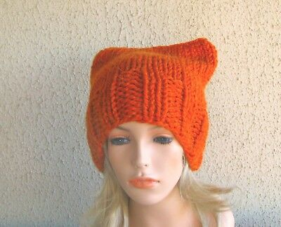 a8166886c1fb3 Hand Knitted Women Beanie Chunky Wool Blend Winter Cat With Ears Knit Hats  New