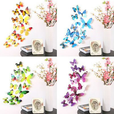 12pcs Fashion Decal Wall Stickers Papers Home Room Decor 3D Butterfly Rainbow