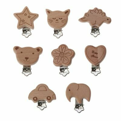 8 Style Lovely Wooden Pacifier Chain Natural Beech Wood Baby Pacifier Clips DIY