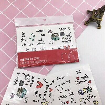 Kpop BTS Cute Temporary Tattoo Sticker JIMIN V Transfer Stickers 2 Sheets