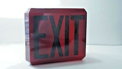 H159 Mid Century Art Deco Ruby Red & Black Theater Exit Sign Globe Wall Lamp