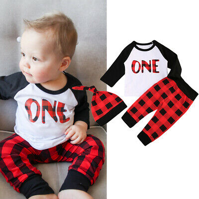 Baby Boy 1st Birthday Outfits One Print T Shirt Plaids Pants Trousers