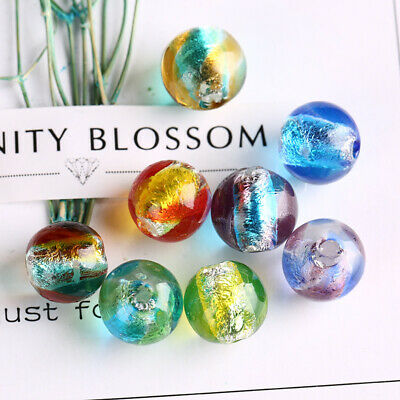Multicolor Glitter Glass Mixed Round Crackle Crystal Charms Beads Jewelry Making