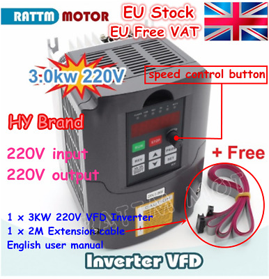 【EU】 3000W 4HP 3KW 220V VFD Variable Frequency Drive Inverter Single To 3 Phase