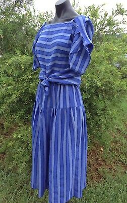 Vintage 80's Blue Skirt Set Sz 12 Cotton Cheesecloth Blouse & Skirt Party Retro