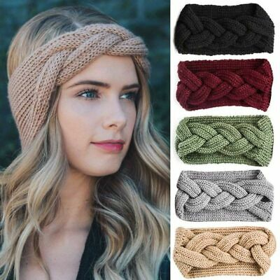 Women Winter Cross Crochet Knitted Wool Headband Hairband Earmuffs Grateful