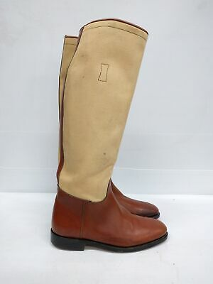 Size AU 8.5 Vintage Ladies Brown Equestrian Riding Leather Canvas high boots