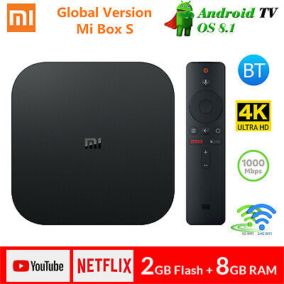 Xiaomi Mi Box S 4K Android 8.1 Quad Core 5G WiFi 2+8Go Smart TV Box Media Player