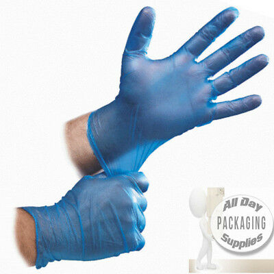 100 Strong Blue Vinyl Disposable Gloves Large Size Powder Free Medical Grade