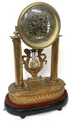 Antique French Skeleton Clock With Musical Box In Base M Miller & Sohn In Wein