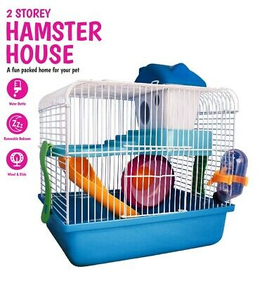 2 Storey Hamster House Pet Cage Water Bottle Wheel Slide Mice Mouse Small Animal