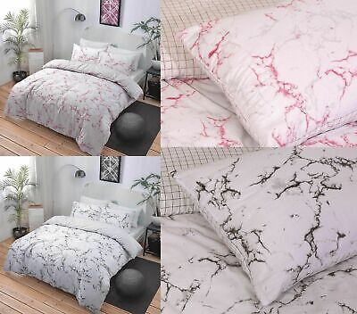 Grey Pink Marble Effect Bedding Duvet Cover Set Single Double Super King Size