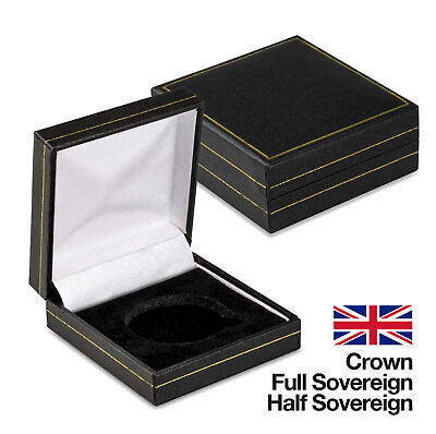 Black Coin Medal Presentation Box Display Case Single Coin, Leatherette, 6 Types