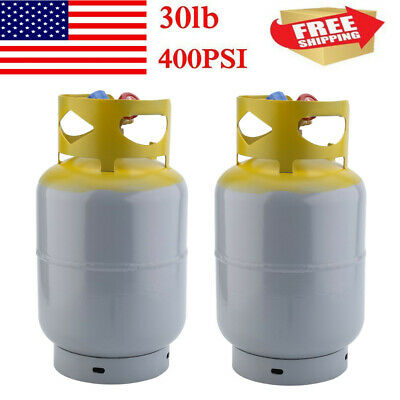 2 Pcs Refrigerant Recovery Reclaim 30lb Cylinder Tank 400 PSI R410A Rated BT