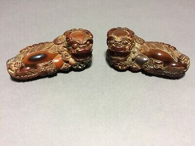 Pair Hand-Carved Ox Horn Chinese Auspicious Animal