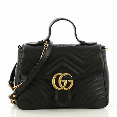 d46bc52e9d4 GUCCI GG MARMONT Top Handle Flap Bag Matelasse Leather Small ...
