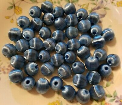 144pcs Blue Jewellery Making Beads 85cm Strand 6mm Round Frosted Glass Beads
