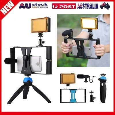 Smartphone Video Rig Phone Video Stabilizer Grip Tripod Mount with Microphone