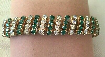Vintage Jewellery Emerald White Gold 1940s Sweetheart Bracelet Antique Jewelry