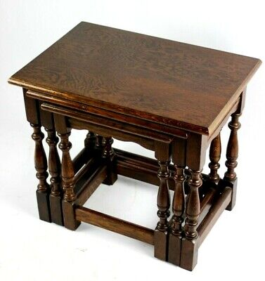 Antique Jacobean Style Oak Nest of Three Tables - FREE Shipping [PL4858]
