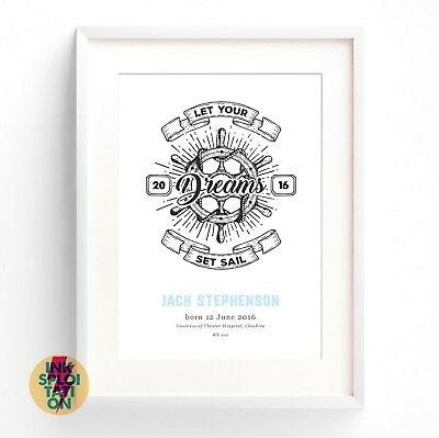 Personalised Nautical Baby Gift Nursery Christening New Baby Print Canvas