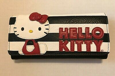 6af948c77e Loungefly HELLO KITTY Licensed Sanrio Black   White Stripe Trifold Wallet