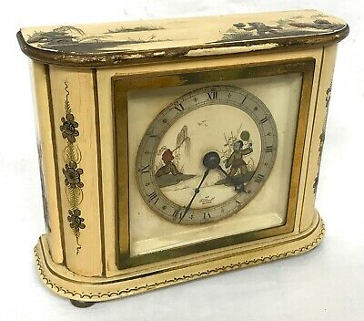 Stunning Chinoiserie Cream Lacquered Elliott Mantel Bracket Clock Japanned Paint