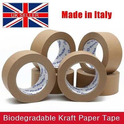 Strong BROWN Kraft Paper Tape - Self Adhesive Eco-friendly Tapes - 6/12/36 Rolls