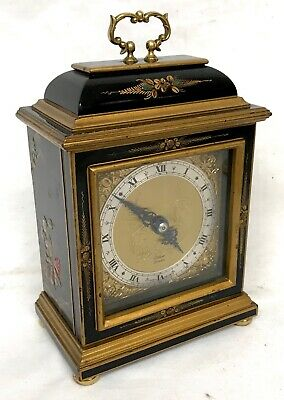 Stunning Chinoiserie Black Lacquered Elliott Mantel Bracket Clock Japanned Paint