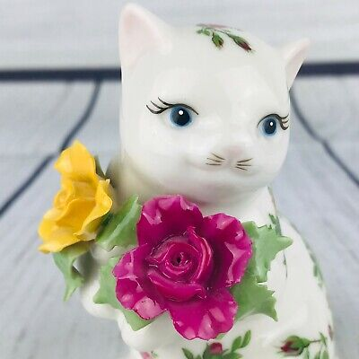 Vintage Royal Albert Old Country Roses Cat Salt Shaker 1962 Floral Collectible