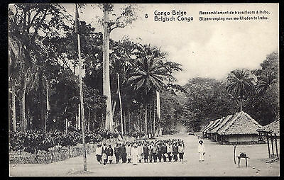Belgian Congo Unused Picture P/C of Native Workers at Irebu #8 -5 centimes Green