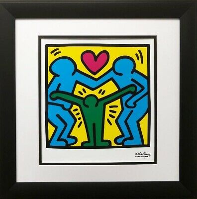 "Keith Haring ""KH11"" CUSTOM FRAMED Print POP Street Art Love Family Community Man"